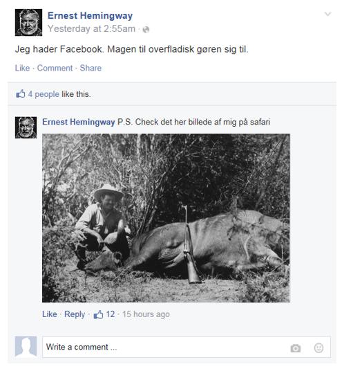 Hemingway på Facebook